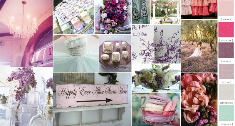 Mrs. Rainbow's old romantic, elegant and purple wedding inspiration board.